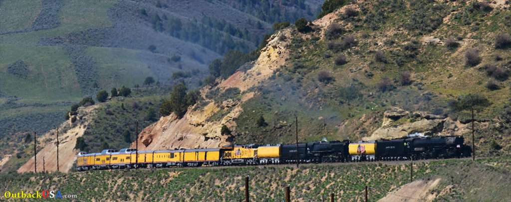 #844 and #4014 Ascending the grade out of Echo Canyon, Utah